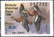 Kentucky Duck Stamp 1990 American Wigeons