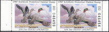 Kansas Duck Stamp 1987 Green - Winged Teal Hunter pair (DD)