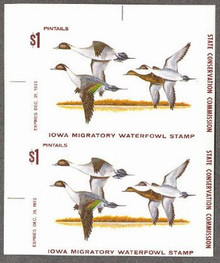 Iowa Duck Stamp 1973 Pintails Vertical imperforate pair