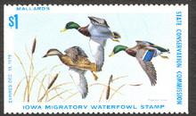 Iowa Duck Stamp 1972 Mallards Unsigned No Gum