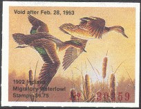 Indiana Duck Stamp 1992 Green - Winged Teal