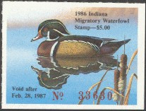Indiana Duck Stamp 1986 Wood Duck