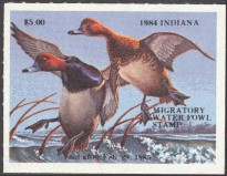 Indiana Duck Stamp 1984 Redheads