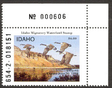 Idaho Duck Stamp 1992 Canada Geese Extra Fine with Pane # XF