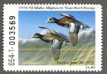 Idaho Duck Stamp 1991 American Wigeons