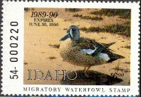 Idaho Duck Stamp 1989 Blue - Winged Teal