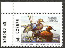 Idaho Duck Stamp 1987 Cinnamon Teals Extra Fine with Pane # XF