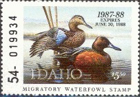Idaho Duck Stamp 1987 Cinnamon Teals