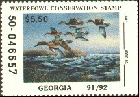Georgia Duck Stamp 1991 Green - Winged Teal