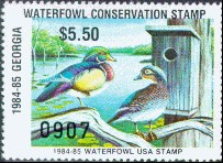 Georgia Waterfowl USA Duck Stamp 1984 Wood Ducks