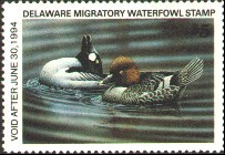 Delaware Duck Stamp 1993 Goldeneyes Hunterserial # on back