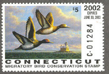 Connecticut Duck Stamp 2002 Lesser Scaup (Serial # C)
