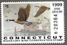 Connecticut Duck Stamp 1999 Canada Geese / Lighthouse Hunter type (Serial # H)