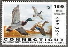 Connecticut Duck Stamp 1998 Mallards Hunter type (Serial # H)