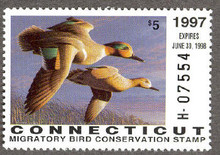 Connecticut Duck Stamp 1997 Green - Winged Teal Hunter type (Serial # H)