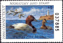Connecticut Duck Stamp 1994 Canvasbacks