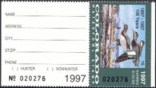 Colorado Duck Stamp 1997 American Wigeons Hunter with tab
