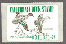 California Duck Stamp 1975 Green - Winged. Teal with out stains