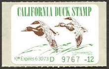 California Duck Stamp 1972 Canvasbacks 100% Mint, original gum, original backing, bright ,clean , NO SPOTTING, XF-Superb