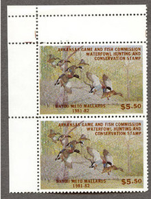 Arkansas Duck Stamp 1981 Mallards Vertical Hunter Pair with Partial Double Top Selvage