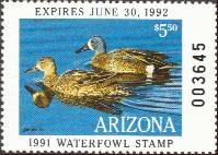 Arizona Duck Stamp 1991 Blue - Winged Teal
