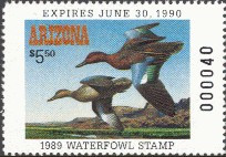 Arizona Duck Stamp 1989 Cinnamon Teal