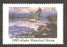 Alaska Duck Stamp 1993 White - Fronted Geese