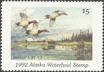 Alaska Duck Stamp 1992 Canvasbacks