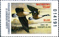 Alabama Duck Stamp 1995 Canada Geese