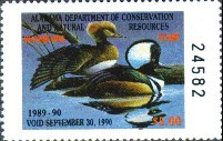 Alabama Duck Stamp 1989 Hooded Mergansers