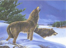 Timber Wolf Preservation Society Stamp Print 1982 Eastern Timber Wolf by Martin R. Murk , New York Chapter