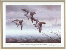 National Waterfowl Conservation Duck Stamp Print 1983 Canvasbacks by Les Kouba Matted