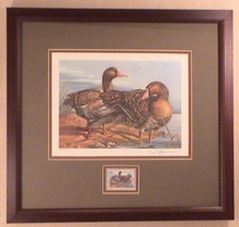 Oklahoma Duck Stamp Print 1993 White-front Geese by Jerome Hageman Framed