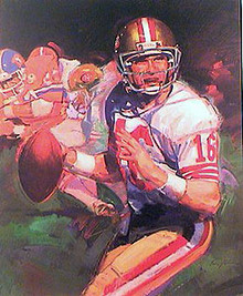Montana Super Bowl 24 by Stan Livingston , Joe Montana Signed