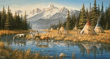 Blackfoot Village - Canvas - Giclee Edition by Jim Hautman