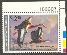 Federal Duck Stamp RW57 ( 1990 Black - Bellied Whistling Ducks )
