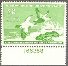 Federal Duck Stamp RW24 ( 1957 American Eider )