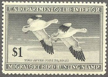Federal Duck Stamp RW14 ( 1947 Snow Geese )