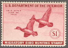 Federal Duck Stamp RW10 ( 1943 Wood Ducks )