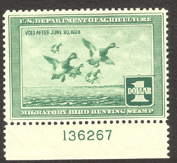 Federal Duck Stamp RW 4 ( 1937 Greater Scaup )