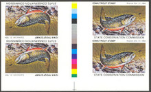 Iowa 1984 Trout Stamp fully Imperf Block of 4 (Gutter with color bar)