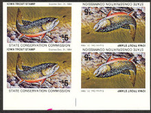 Iowa 1984 Trout Stamp fully Imperforate Block of 4 (2 inverted)