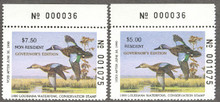 Louisiana Duck Stamp 1989 Governor Edition Match # set Resident and Non Resident
