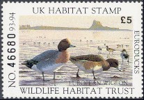 United Kingdom Duck Stamp 1993 European Wigeon