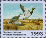 Saskatchewan Wildlife Federation Duck Stamp 1993 Mallards