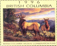British Columbia Conservation Fund Duck Stamp 1996 Elk