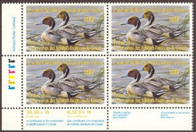 Canada Duck Stamp 1988 Pintails Corner block of four with selvage