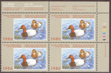Canada Duck Stamp 1986 Canvasbacks Corner block of four with selvage
