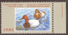 Canada Duck Stamp 1986 Canvasbacks Sheet type with selvage