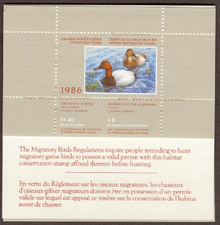 Canada Duck Stamp 1986 Canvasbacks Booklet